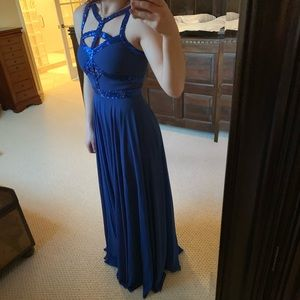 Blue chiffon and sequined prom dress!